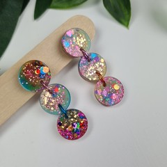 Galacitc Rainbow Trio of Circles Glitter Sparkles - Resin - Stud Dangle earrings
