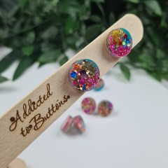 Galactic Rainbow Sparkle Resin Dot Button - Stud Earrings