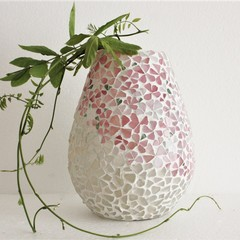 Glass on Glass Pink Floral Mosaic Vase