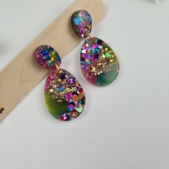 Galactic  Rainbow Sparkle Egg Oval Dangle Earrings  - Glitter  - Stud