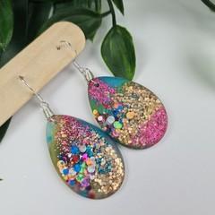 Galactic Rainbow - Glittering - Drop Resin - Hook Oval Egg Dangle earrings