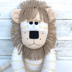 'Lambert' the Sock Lion - beige, cream and gold stripes - *READY TO POST*