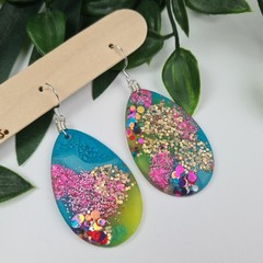 Galactic Rainbow Sparkle - Glittering - Drop Resin - hook Dangle earrings