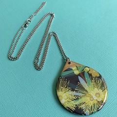 Australian Flora Wooden Pendant.