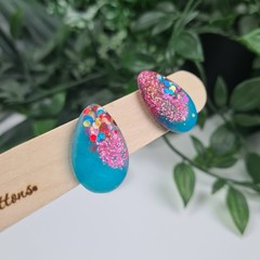 Galactic Rainbow Teardrop (small) Stud earrings - Handcrafted earrings