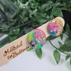 Galactic Rainbow Maxi Circle Glitter Resin Button Stud Earrings