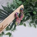 Galactic  Rainbow Sparkle Egg Oval Dangle Earrings  - Glitter  - Stud