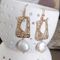 Golden window Pearl Earrings 14k Gold filled