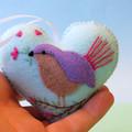 Embroidered Felt Heart Ornament, Bird Decoration, Love bird, Fairy Wren, Aqua