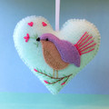 Embroidered Felt Heart Ornament, Bird Decoration, Love bird, Fairy Wren, Aqua
