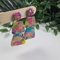 Galactic Rainbow Sparkle Pebbles Dangle earrings - Handcrafted dangle earrings