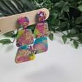 Galactic Rainbow Sparkle Pebbles Dangle earrings - Handcrafted dangle earrings