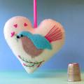 Embroidered Felt Heart Ornament, Bird Decoration, Love bird, Fairy Wren, Cream