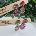 Galactic  Rainbow Sparkle Cicle Top Oval Dangle Earrings  - Glitter  - Stud