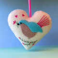Embroidered Felt Heart Ornament, Bird Decoration, Love bird, Fairy Wren, Cream