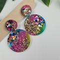 Galactic Rainbow Sparkle Circle - Glittering Drop Resin - earrings