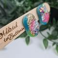 Galactic Rainbow Pebble Glitter Resin Button Stud Earrings - Large