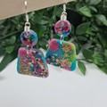 Galactic Rainbow Pebble Dangle earrings - Handcrafted dangle earrings - Lge