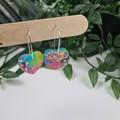 Galactic Rainbow Beating Heart - Glitter Hoop Dangle earrings