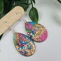 Galactic Rainbow - Glittering - Drop Resin - Hook Oval Egg Dangle earrings
