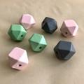 HEXAGON WOODEN BEADS Geometric 2cm- Pink Mint Grey 7 pcs