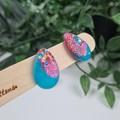 Galactic Rainbow Teardrop (small) Stud earrings - Handcrafted earrings