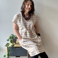 Cotton tan gingham loose smock dress with pockets size small - medium