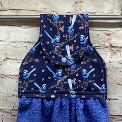 Australian blue wren Hanging Hand Towel