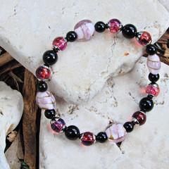 Black Onyx & Lampwork Glass Stretch Bracelet