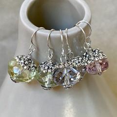 Sweet Silver and Glass Flower Earrings