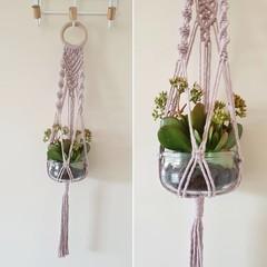 Hand made macrame plant hanger/holder - pale pink