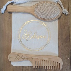 Childrens Personalised Hair Brush Set. Named Hair Brush and Comb with carry bag