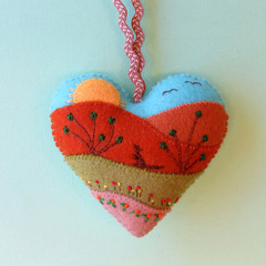 Embroidered Felt Heart Ornament, Australian Outback, Heart Decoration, Kangaroo