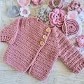 Newborn Pale Rose Hand Crocheted Baby Cardigan Jacket