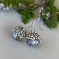 Sweet Silver and Glass Flower Earrings