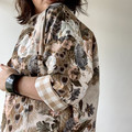 Vintage rescued fabric peacock and floral print jacket fully lined with pockets