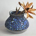 Shades of Blue Mosaic Vase