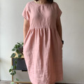 100% linen pink dress with inseam pockets, optional obi belt and short sleeves