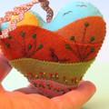 Embroidered Felt Heart Ornament, Australian Outback, Heart Decoration, Kangaroo