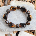 Chocolate & Cream Vintage Glass Stretch Bracelet