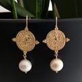 Goddess Greek coin Pearl Earrings