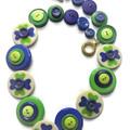 Button necklace - Four Leaf Clover