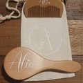 Newborn Baby Personalised Hair Brush Set.Hair Brush and Comb with carry bag