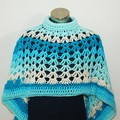 Blue Lagoon - Crochet Asymmetrical Circular Poncho - FREE SHIPPING