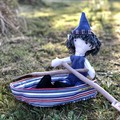 Gnome rag doll with his own rowboat  Upcycled softie