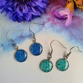 Blue Sparkly Silver Drop Earrings