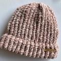 Pink velvet polyester baby beanie