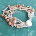 5 Strand Sunstone and Rosewood Crochet Bracelet