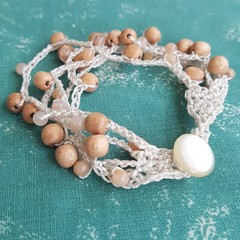 5 Strand Sunstone and Rosewood Crochet Bracelet