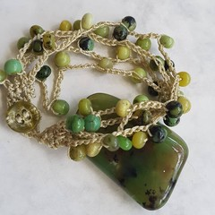 5 Strand Crochet Bracelet with Chrysoprase Gemstones